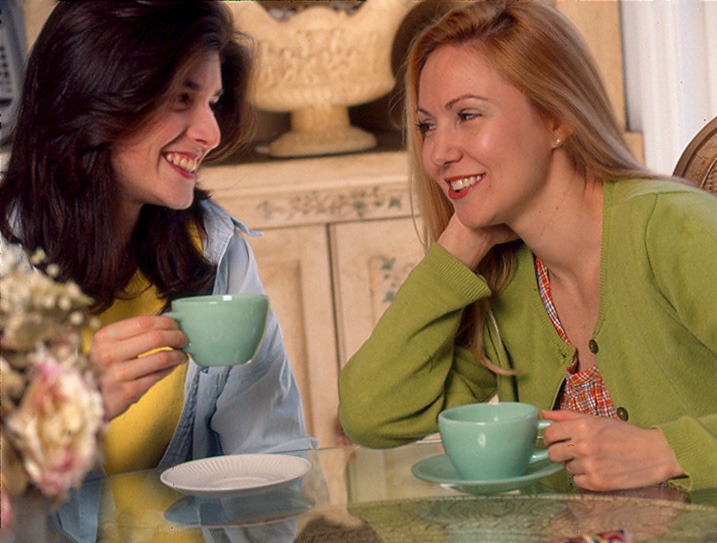 Photo of Catherine taormina stock photo drinking tea with pamela sutch